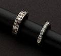 Estate Jewelry:Rings, Platinum Diamond Band & Ruby and Diamond Ring. ... (Total: 2Items)