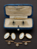 Estate Jewelry:Cufflinks, Estate Gold & Mother Of Pearl Man's Dress Set. ... (Total: 5 Items)