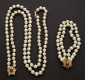 Estate Jewelry:Suites, Pearl Bracelet & Necklace With Sapphires. ... (Total: 2 Items)