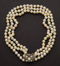 Estate Jewelry:Pearls, Pearl & Diamond Triple Strand Necklace. ...
