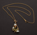Estate Jewelry:Pendants and Lockets, Exquisite Art Nouveau Pearl And Enamel Gold Pendant & NeckChain. ...