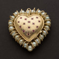 Estate Jewelry:Pendants and Lockets, Large Pearl, Ruby & Gold Heart Pendant/Locket With Inner PhotoFrames. ...