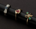 Estate Jewelry:Rings, Ruby, Diamond & Emerald Gold Rings. ... (Total: 3 Items)