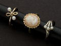 Estate Jewelry:Rings, Three Gold Rings Cameo & Pearls. ... (Total: 3 Items)