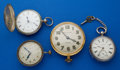 Timepieces:Other , Two 8 Day Clocks & Two Key Wind Pocket Watches. ... (Total: 4 Items)