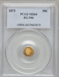 California Fractional Gold: , 1875 50C Indian Octagonal 50 Cents, BG-946, R.4, MS64 PCGS. PCGSPopulation (16/5). NGC Census: (0/1). (#10804)...