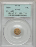 California Fractional Gold: , 1866 50C Liberty Round 50 Cents, BG-1006, R.5, MS63 PCGS. PCGSPopulation (9/12). NGC Census: (1/4). (#10835)...
