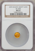 California Fractional Gold: , 1870 25C Liberty Round 25 Cents, BG-808, R.3, MS63 NGC. NGC Census:(7/29). PCGS Population (43/125). (#10669)...