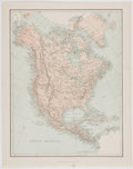 Antiques:Posters & Prints, Nineteenth Century Color Map of North America. London: Virtue, [n. d., ca. 1900's]. Measures 13.5 x 10.5 inches. Fold throug...