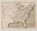 Antiques:Posters & Prints, Stunning Engraved Map of the United States. London: Thomas Tegg,1828. Measures 9.25 x 11 inches. Fold through center. Minor...