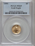 Modern Bullion Coins: , 1991 G$5 Tenth-Ounce Gold Eagle MS69 PCGS. PCGS Population (968/3).NGC Census: (1864/109). Mintage: 165,200. Numismedia Ws...