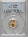 Modern Bullion Coins: , 2001 G$5 Tenth-Ounce Gold Eagle MS69 PCGS. PCGS Population(2223/33). NGC Census: (5828/3355). Numismedia Wsl. Price for p...