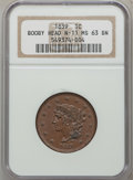 Large Cents, 1839 1C Booby Head MS63 Brown NGC. N-11, R.1....
