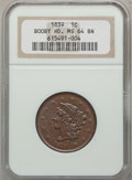 Large Cents, 1839 1C Booby Head MS64 Brown NGC. N-13, R.2....