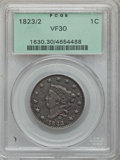 Large Cents, 1823/2 1C VF30 PCGS. N-1, Low R.2....