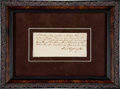 Autographs:U.S. Presidents, George Washington Receipt Signed with his Full Signature....