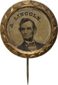 Political:Ferrotypes / Photo Badges (pre-1896), Abraham Lincoln: Scallop-Frame Ferrotype....
