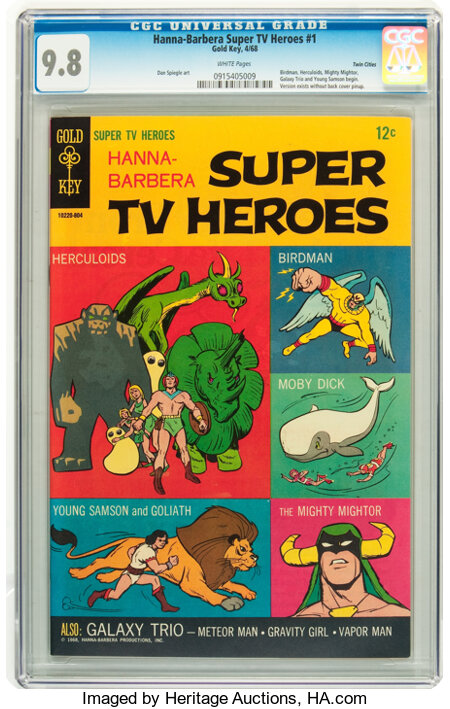 Hanna-Barbera Super TV Heroes #1 Twin Cities pedigree (Gold Key, 1968) CGC NM/MT 9.8 White pages....