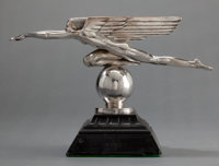A HARRIET WHITNEY FRISHMUTH (AMERICAN, 1880-1980) SILVERED BRONZE MASCOT ON STONE BASE: SPEED
