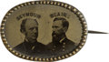 Political:Ferrotypes / Photo Badges (pre-1896), Seymour & Blair: Gem Oval Ferrotype Jugate....