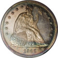 Early Proof Sets: , 1866 $1 Motto Seated Dollar PR65 PCGS. Attractive radish-red, sea-green, and gold shades drap...
