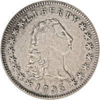 1795 $1 Flowing Hair, Three Leaves XF45 PCGS. B-7, BB-18, R.3. Small perfect curl touches star 1; leaf point below left...