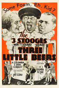"The Three Stooges in Three Little Beers (Columbia, 1935). One Sheet (27"" X 41"")"