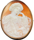 Estate Jewelry:Cameos, Victorian Shell Cameo, Gold Brooch. ...