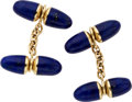 Estate Jewelry:Cufflinks, Lapis, Gold Cuff Links. ...