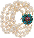 Estate Jewelry:Bracelets, Cultured Pearl, Turquoise, Ruby, Diamond, Gold Bracelet. ...