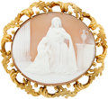 Estate Jewelry:Brooches - Pins, Victorian Shell Cameo, Gold Brooch. ...