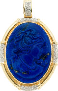 Estate Jewelry:Pendants and Lockets, Lapis Lazuli Cameo, Diamond, Gold Pendant. ...