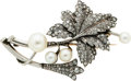Estate Jewelry:Brooches - Pins, Diamond, Cultured Pearl, Silver-Topped Gold Brooch. ...