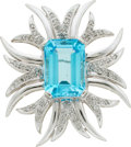 Estate Jewelry:Brooches - Pins, Blue Topaz, Diamond, White Gold Pendant-Brooch. ...