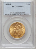 Liberty Eagles: , 1901-S $10 MS64 PCGS. PCGS Population (3398/1076). NGC Census:(3749/1507). Mintage: 2,812,750. Numismedia Wsl. Price for p...