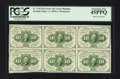 Fractional Currency:First Issue, Fr. 1242 10¢ First Issue Block of Six PCGS Extremely Fine 45PPQ.....