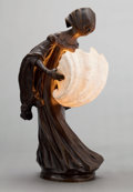 Bronze:European, A LEO LAPORTE-BLAIRSY (FRENCH, 1867-1923) PATINATED BRONZE ANDSHELL FIGURAL LAMP . Paris, France, circa 1900. Marks:LEO....