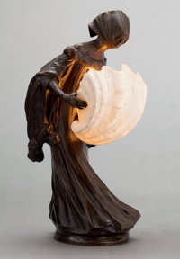 A LEO LAPORTE-BLAIRSY (FRENCH, 1867-1923) PATINATED BRONZE AND SHELL FIGURAL LAMP Paris, France, circa 1900 Ma