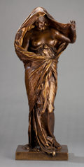 Bronze:European, AN ERNEST BARRIAS (FRENCH, 1841-1905) PATINATED BRONZE FIGURE:NATURE REVEALING HERSELF . Paris, France, circa 1900...