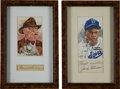 Baseball Collectibles:Others, Jackie Robinson and Branch Rickey Signed Cut Signature Displays Lotof 2....