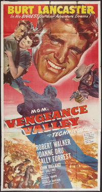 "Vengeance Valley (MGM, 1951). Three Sheet (41"" X 81""). Western"