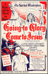 """Going to Glory, Come to Jesus (Toddy Pictures, 1946). One Sheet (27"""" X 41"""") and Herald (6"""" X 9""""). Bl..."""