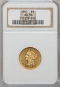 Liberty Half Eagles: , 1851 $5 AU58 NGC. NGC Census: (130/73). PCGS Population (20/37).Mintage: 377,505. Numismedia Wsl. Price for problem free N...