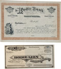 Western Expansion:Goldrush, [California Gold Mines] Two Bodie Stock Certificates The Bodie Bank187x, Bodie Lion Mining Company 187x.... (Total: 1 Pair)