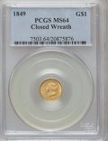 Gold Dollars, 1849 G$1 Closed Wreath MS64 PCGS. Breen-6006....