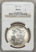 Morgan Dollars: , 1887 $1 MS64 NGC. NGC Census: (72484/28029). PCGS Population(51390/15684). Mintage: 20,290,710. Numismedia Wsl. Price for ...