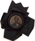 Political:Ferrotypes / Photo Badges (pre-1896), Abraham Lincoln: Large Ferrotype Mourning Badge. ...