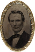 Political:Ferrotypes / Photo Badges (pre-1896), Abraham Lincoln: Large Head Belt Buckle Ferrotype....