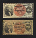 Fr. 1307 25¢ Fourth Issue Very Good and Very Fine. Two Examples