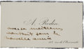 Autographs:Artists, [Auguste Rodin] Rodin's Personal Calling Card with Autographed Notein an Unknown Hand....